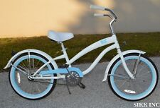 GIRLS 20 IN WHEELS CRUISER BICYCLE - WHITE W BLUE  -SIKK