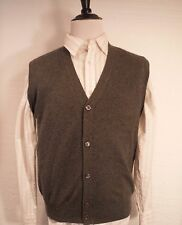 100% Cashmere Mens Gray Button Front V-Neck Sweater Vest Men's Large L (46)