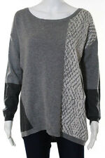 DKNY Jeans Gray White Cotton Animal Print Oversized Sweater Size Extra Small New
