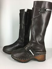 Vintage 70s Famolare Paysannerie Knee High Leather Wood Clog Boots Size 9