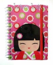Goth Grand Carnet de Notes à Spirales Kimmi Junior Kokeshi ROSE & ROUGE gothique