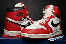 NIKE AIR JORDAN HI I 1 WHITE RED BLACK ORIGINAL OG 1985 CHICAGO BULLS BRED HIGH
