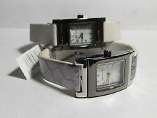 Anne Klein Ladies MOP Silver/White Reversible Leather Band Watch AK/1081MPRV