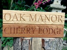 Oak House Sign, Personalised, Carved, Custom Engraved Outdoor Wooden Name Plaque
