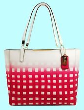 COACH 30118 MADISON White/Pink Leather Gingham E/W Tote Bag Msrp $328 * FREE S/H