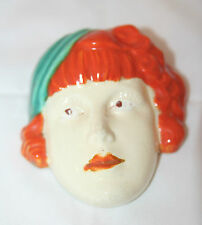 Small Royal Dux? Czech Art Deco 1930's Lady With Hat Wall Mask
