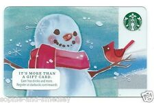 2014 Starbucks Card - Christmas - Snowman with Scarf, Cardinal Bird