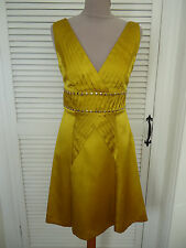 KAREN MILLEN SUPER RARE 100% SILK MUSTARD YELLOW SILVER STUDDED DRESS SIZE 10