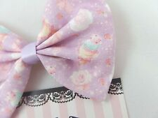 Super Kawaii Pastel Lilac Fabric Hair Bow - Mint Ice Cream and Roses