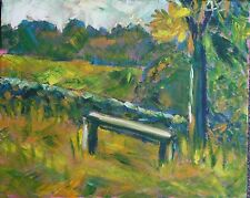 IMPRESSIONISTIC VIEW WITH SEAT Original ACRYLIC Painting on a box canvas L@@K