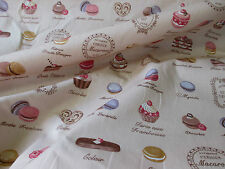 "Tan ""French Patisserie"" Cakes & Chocolate Printed 100% Cotton Poplin Fabric."