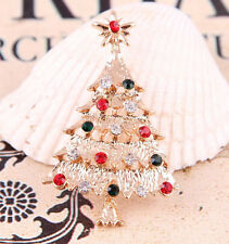 Xmas Tree Crystal Gold Plated Brooch Pin Christmas Gift Jewelry Charming