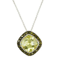 PAVE+CUSHION CUT PERIDOT CUBIC ZIRCONIA RHODIUM NECKLACE-16 TO 18 INCHES