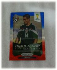 2014 Panini Prizm Blue Red Wave World Cup Stars - Javier Hernandez - Mexico #27