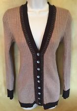 NANETTE LEPORE SZ S Womens Browns Black 100% Wool Button Cardigan Sweater