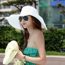 Hot Women's Wide Large Brim Folding Summer Sun Floppy Hat Straw Beach Cap White