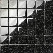 1qm Glasmosaik Fliesen 8mm in Schwarz mit Galaxis Glitzer MT0088 x 11 Matten