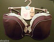 M&S Per Una Size 36DD Cotton and Silk Underwired Dark Grape Balcony Bra Bnwt