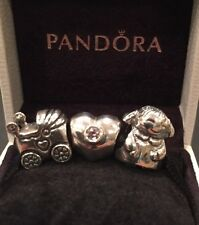 AUTHENTIC PANDORA STERLING SILVER LOT CHARMS. Puffy Heart, Baby Stroller, Girl