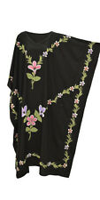 GARDEN Black Hand Painted Embroidered Kaftan Dress Ladies Womens Long Made XXXL