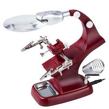 Helping Hands 90mm Magnifier Magnifying Lens Soldering Iron Stand 2 LED Light DH