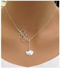 New 925 silver creative Bird leaves clavicle chain necklace  BQ5