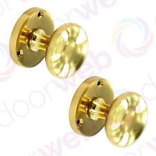 BRASS DOOR KNOBS Pair Victorian Vintage Mushroom Round Mortice Knob Handles 50mm