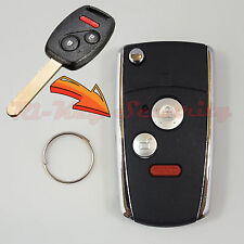 New Flip Key Modified Case Shell For Honda Remote Key 3 Buttons With Chip Holder