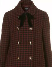 Topshop Black Red Check Tweed Peter Pan Collar Vtg 60s Tie Neck Pea Coat 6 2 34