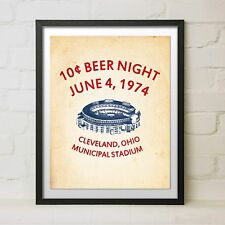 Vintage 10 Cent Beer Night Baseball Cleveland Indians Flyer Poster Print Gift