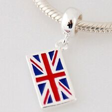 UNION JACK-UK Flag-British-Solid 925 sterling silver European charm bead/pendant