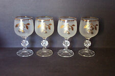 "4 Bohemian Glass Gold Floral Accent Ball Stem 5.5"" Cordial Cocktail Wine Glasses"