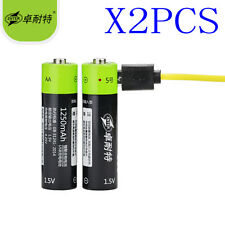 2pcs 1.5V AA 1250mAh LiPo li-ion lithium rechargeable battery+USB charging line