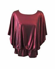 STYLE & CO Red Metallic Bat Wing Sleeve Blouse NWT L