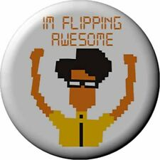 The IT CROWD Badge 2.5 cm Button I.T Geek Dork Humour Flipping Awesome Moss