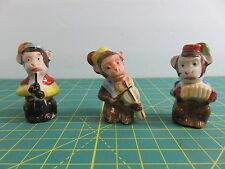 Hand Painted 3 Monkey Musical Instrument Band Occupied Japan Porcelain Figures