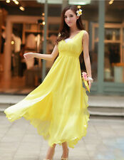 MIMOZA ARDIAN|Women's Sexy V-Neck Layered Sleeveless Beach Dress or Gown Yellow.