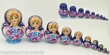 10 pcs Russian Nesting Doll - Matryoshka NAVY/LIGHT BLUE #3607