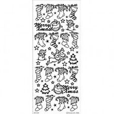 SILVER CHRISTMAS STOCKINGS PEEL OFF STICKERS FOR CARDS OR CRAFTS