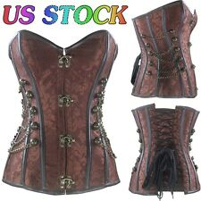 Black Brocade Steampunk Gothic Punk Corset Bustier With Chains Full Steel Boned