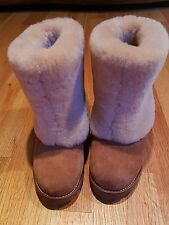 Authentic UGGS Maylin chestnut Sheepskin Shearling Fur Boots Size 7 Excellent Co
