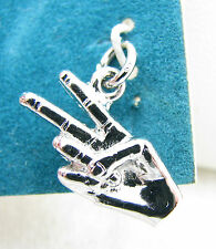 Vintage Sterling Silver Peace 2 Fingers Hand Sign Hippie Bracelet Charm