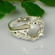 12mm Round Mens Nugget Swirl Sterling Silver Ring Setting Sz10 Casting - Mount