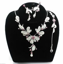 Pink Women's Crystal Mesh Flower Pendant Ladies Necklace Bracelet & Earrings Set