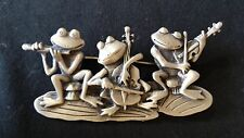 JJ JONETTE 3 THREE FROGS PLAYING MUSICAL INSTRUMENTS PEWTER PIN BROOCH