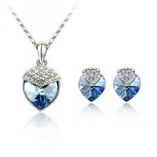 18K WHITE GOLD PLATED GENUINE AUSTRIAN CRYSTAL HEART NECKLACE AND EARRING SET