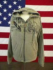 Dragon Brand Hoodie Distressed Uni-sex With Graphics Green Size Large
