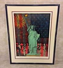 """Vtg Rick Rush Signed Ltd Ed Lithograph """"Drawn by the Flame: Statue of Liberty"""" 1"""