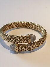Fope designer 18k yellow gold and diamond tip flexible bracelet 41 grams