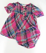 Ralph Lauren Baby Girls Cotton Plaid Dress & Bloomer Pink Multi Sz 24M - NWT